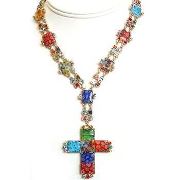 Millefiori Cross Necklace N221 - Sweet Romance Wholesale