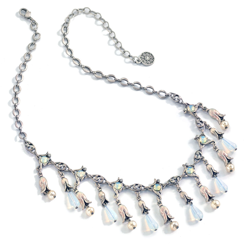 Silver Opal Lily Necklace - Sweet Romance Wholesale