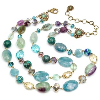 Gemstones and Crystal Bead Double Strand Necklace