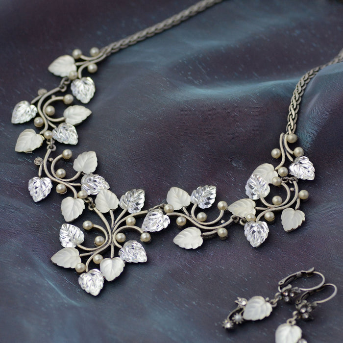 Satin Glass Leaves Necklace - Sweet Romance Wholesale