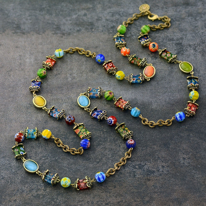 Millefiori Glass Candy Chain Necklace - Sweet Romance Wholesale