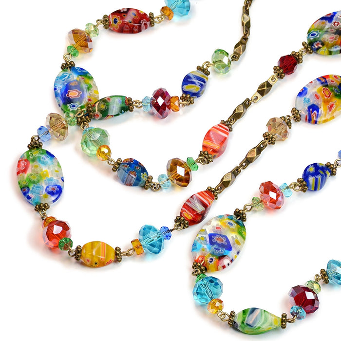 Millefiori Glass Candy Rainbow Bead Necklace - Sweet Romance Wholesale