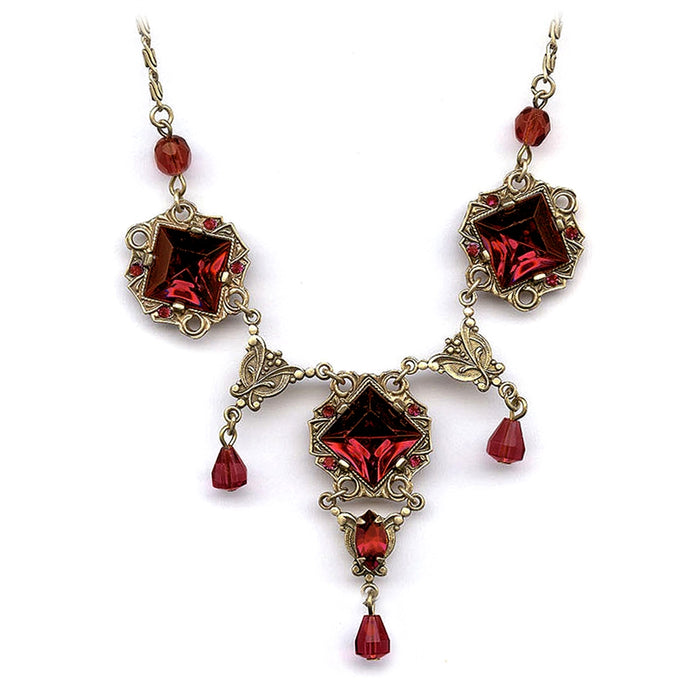 Art Deco Vintage Glass Squares Necklace N540 - Sweet Romance Wholesale