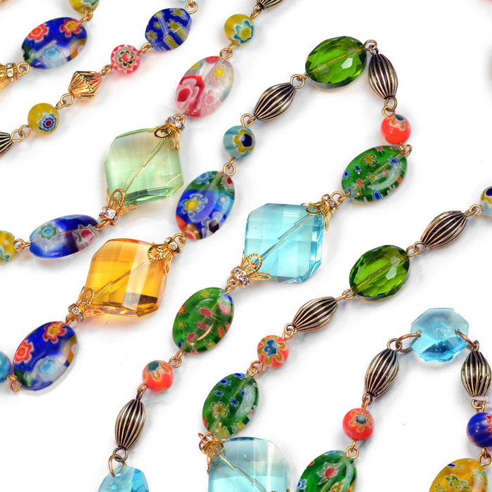Candy Glass and Prism Necklace N586 - Sweet Romance Wholesale