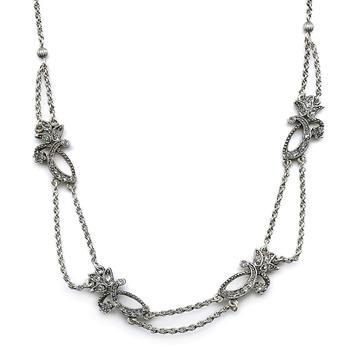 Diamond Flourish Necklace N623-CR - Sweet Romance Wholesale