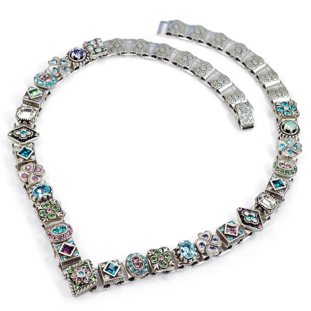 Pastel Crystal Vee Collar Necklace N636-ET - Sweet Romance Wholesale
