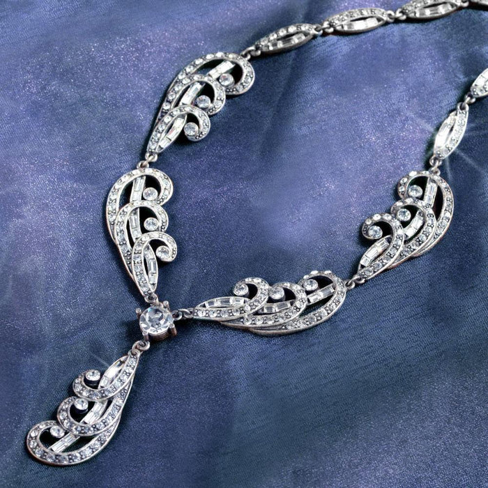 Art Deco Silver Plume Vintage Wedding Necklace N669 - Sweet Romance Wholesale