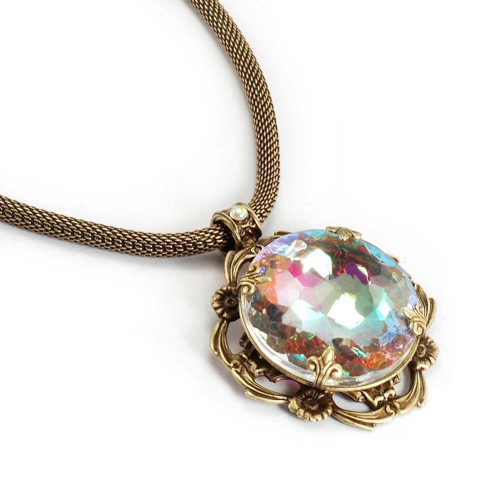 Rainbow Jewel Necklace N707 - Sweet Romance Wholesale