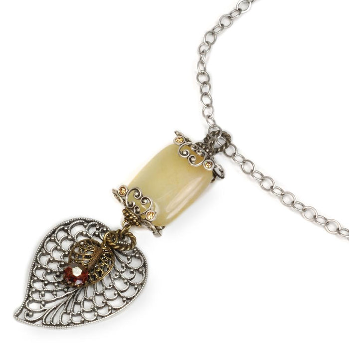 Silver Leaf Pendant Necklace N816-NEW - Sweet Romance Wholesale