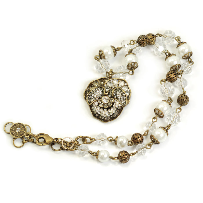 Pave Pansy and Pearls Necklace N922 - Sweet Romance Wholesale
