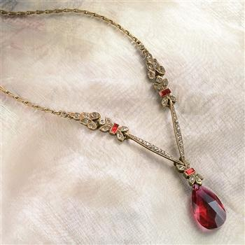 Art Deco Ruby Red Garnet Prism Pendant Necklace N936 - Sweet Romance Wholesale