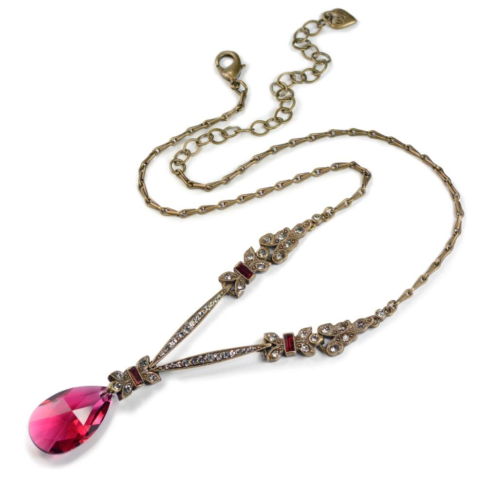 Art Deco Ruby Red Garnet Prism Pendant Necklace N936