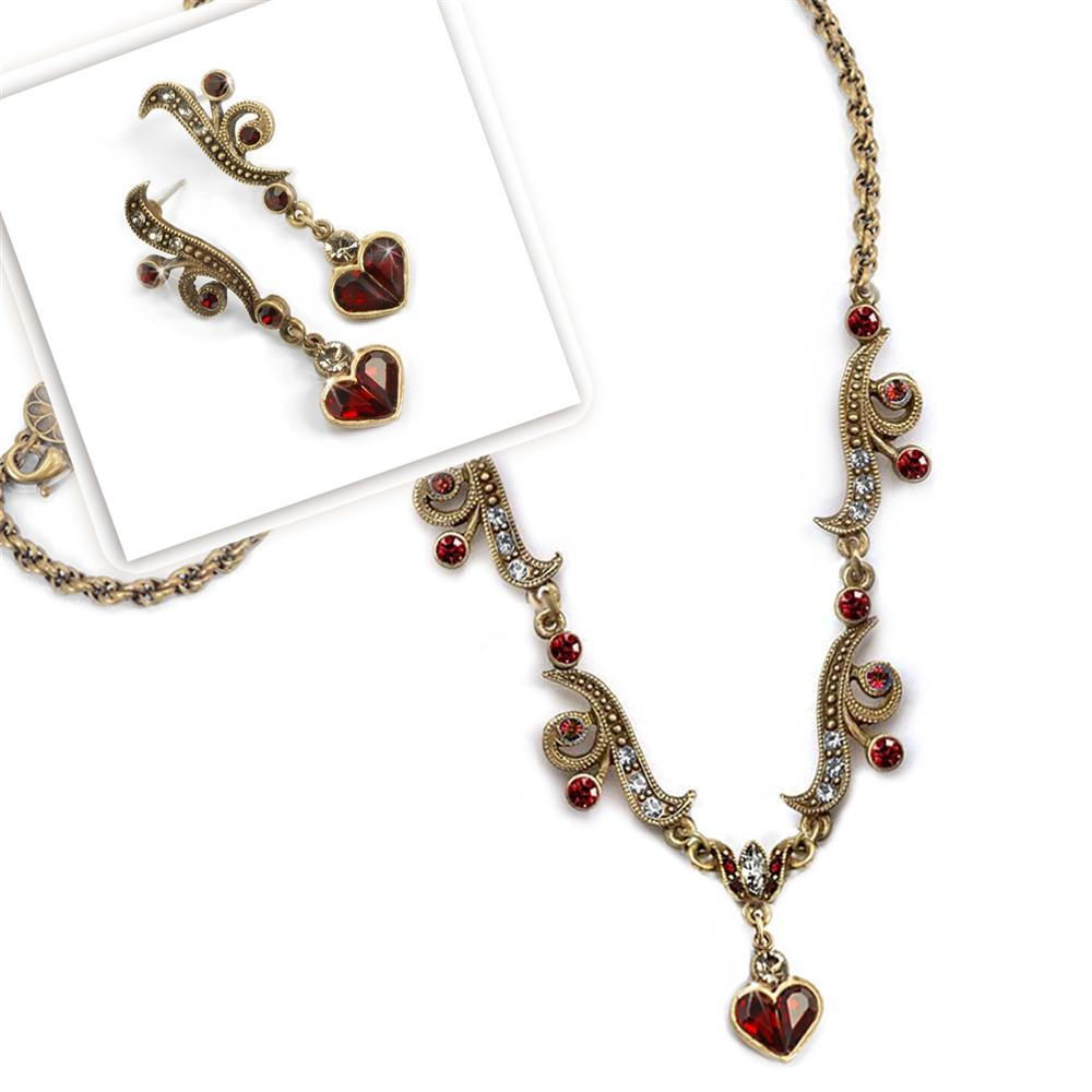 Garnet Hearts Necklace SR_N947 - Sweet Romance Wholesale