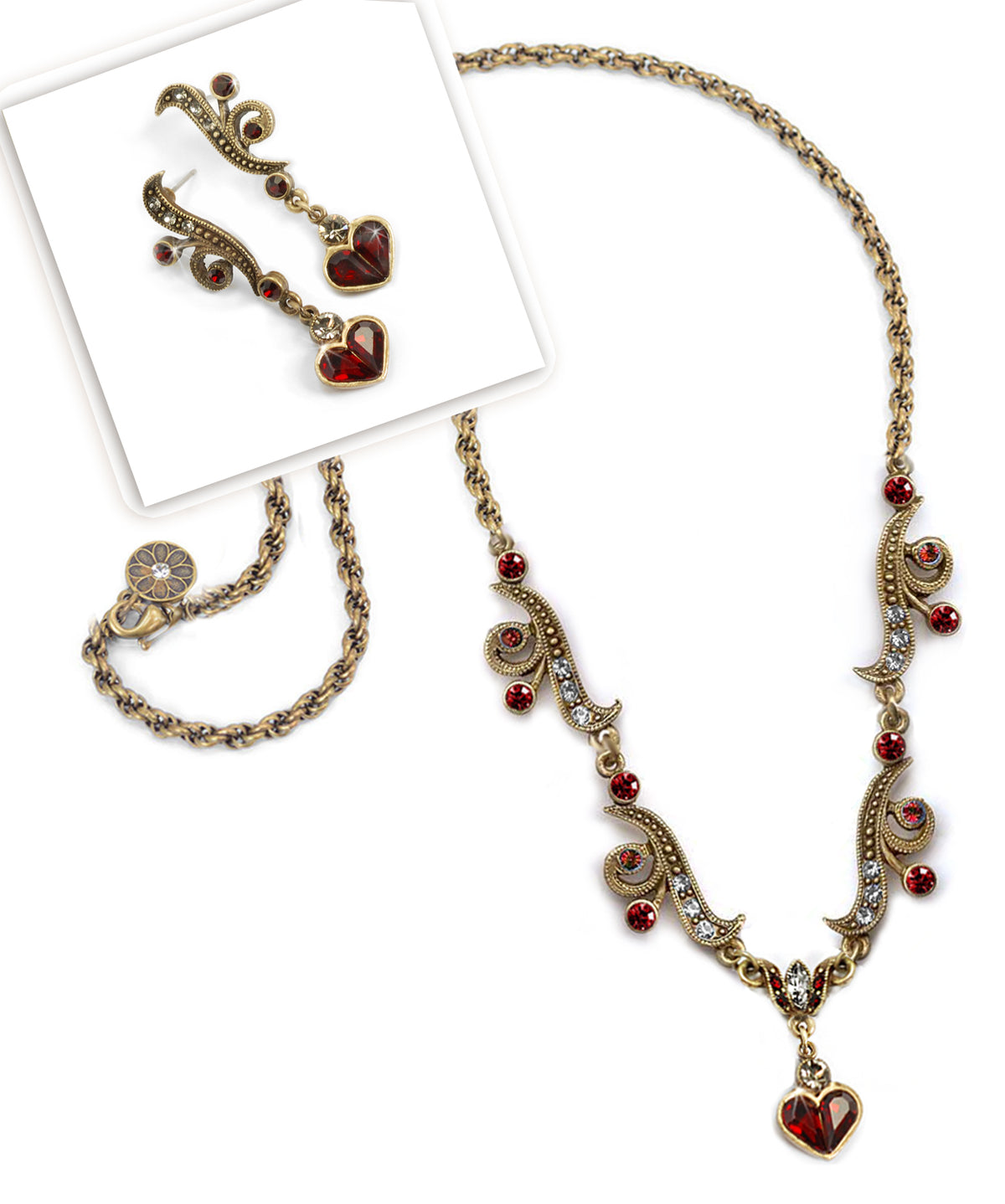 Garnet Hearts Necklace & Earring Set - Sweet Romance Wholesale