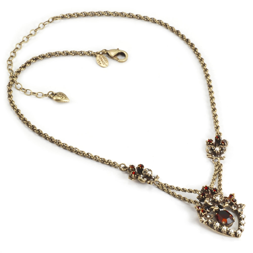 Victorian Garnet Sweetheart Necklace N958 - Sweet Romance Wholesale