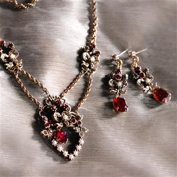 Victorian Garnet Sweetheart Necklace & Earring Set NE958-GA-SET - Sweet Romance Wholesale