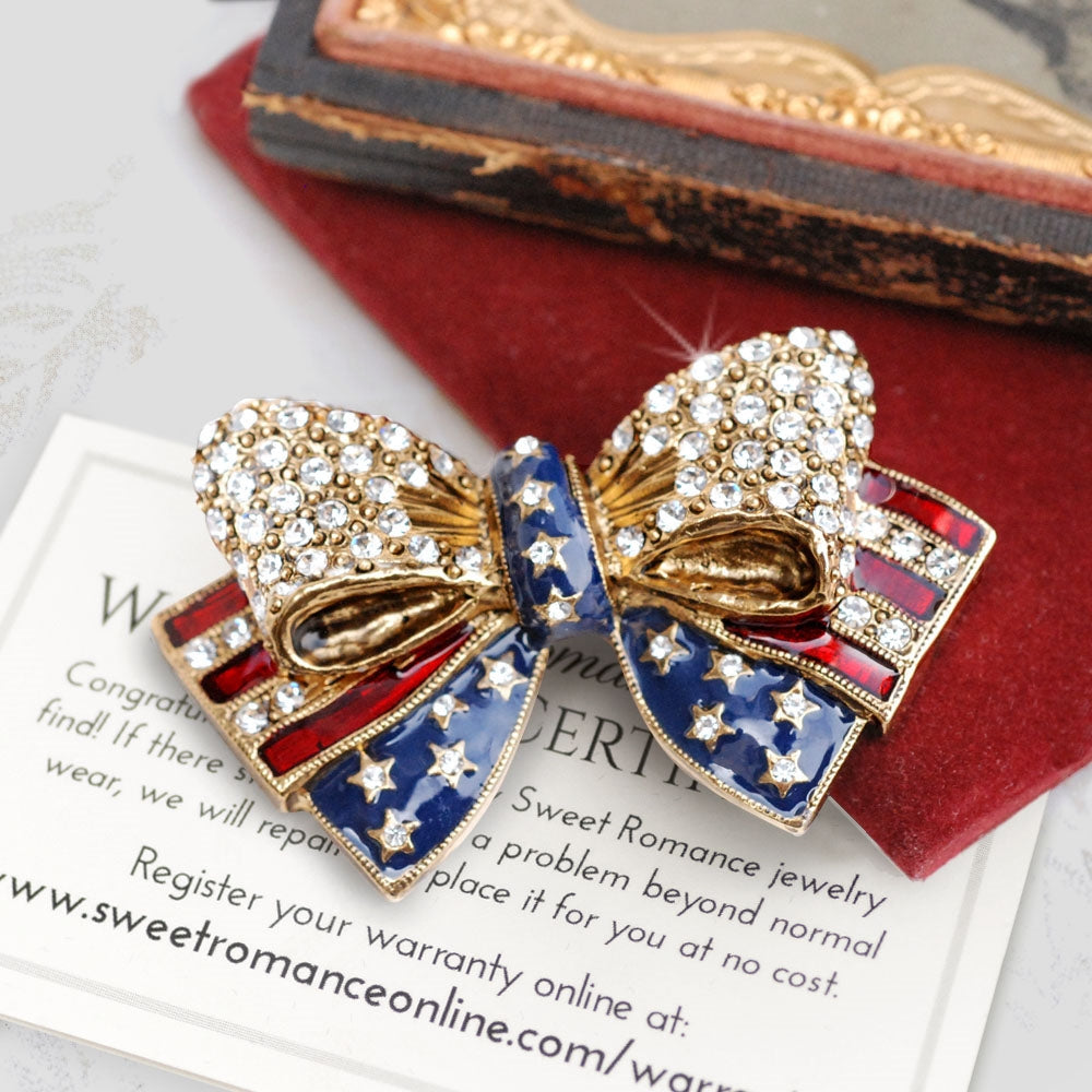 USA American Flag Bow Pin P1776 - Sweet Romance Wholesale