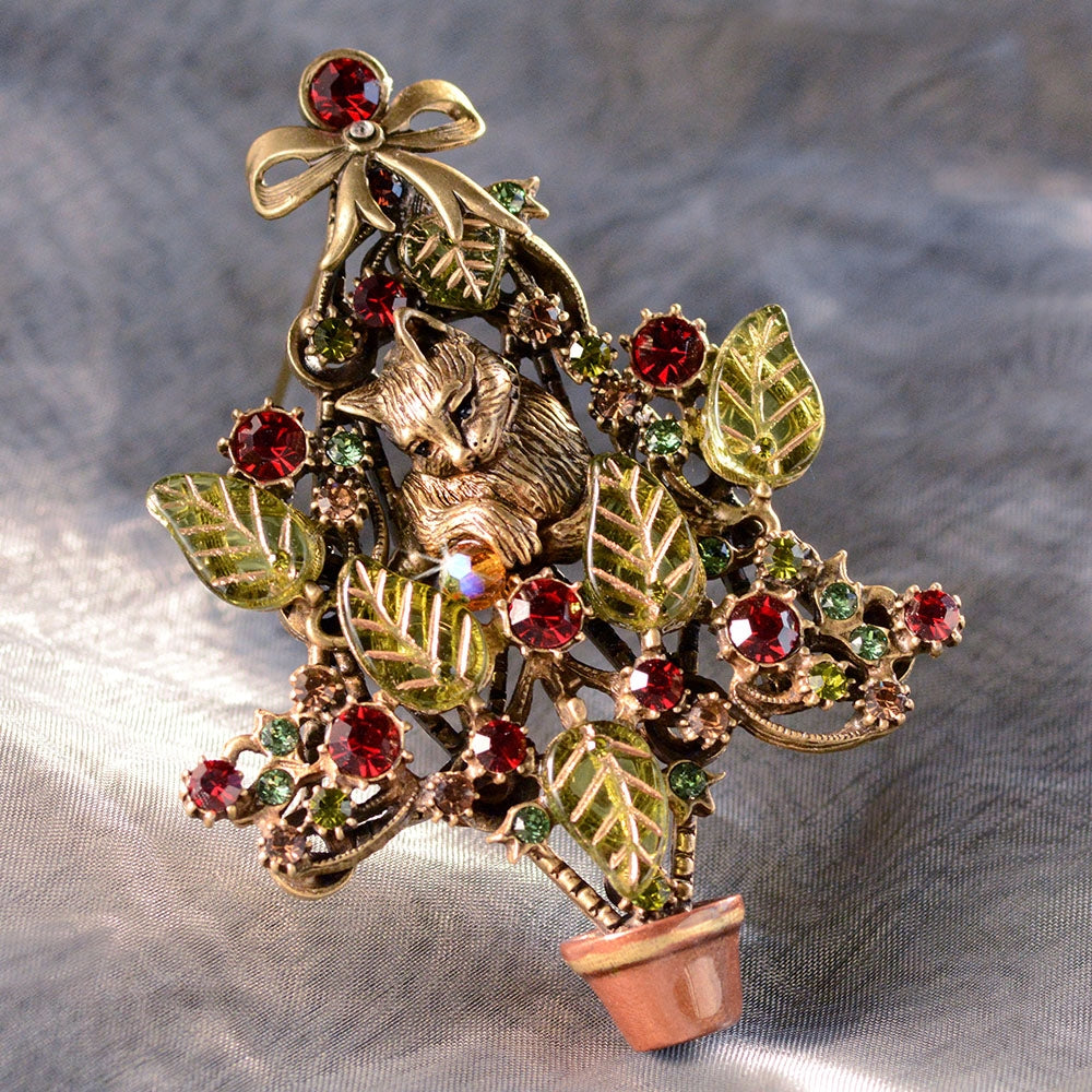 Kitten Among the Branches Christmas Tree Pin