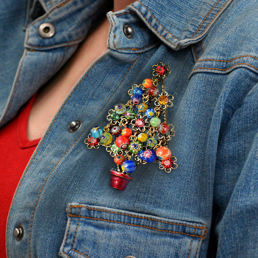 Millefiori Beads Tree Christmas Pin P185 - Sweet Romance Wholesale