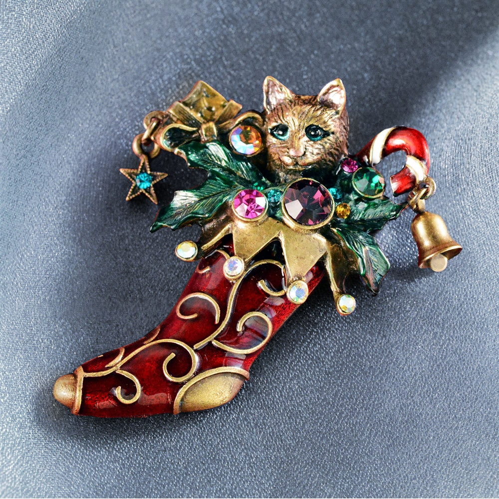 Christmas Kitty Stocking Pin P306 - Sweet Romance Wholesale