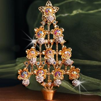 Christmas Tree Pin - Gold & Crystal P370 - Sweet Romance Wholesale