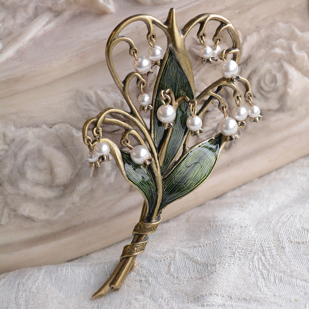 Lily of the Valley Brooch P585 - Sweet Romance Wholesale