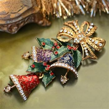 Enamel Christmas Bells Pin P705 - Sweet Romance Wholesale