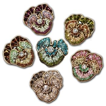 Pave Crystal Pansy Pins - Sweet Romance Wholesale