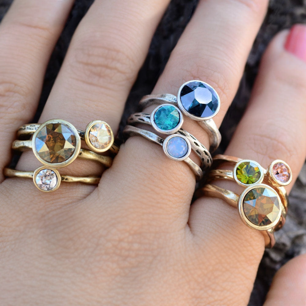 Circle Stacking Rings Set R1105 - Sweet Romance Wholesale