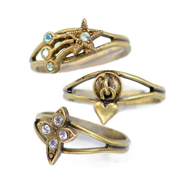 Set of 3 Adjustable Finger Ring or Toe Rings R1106