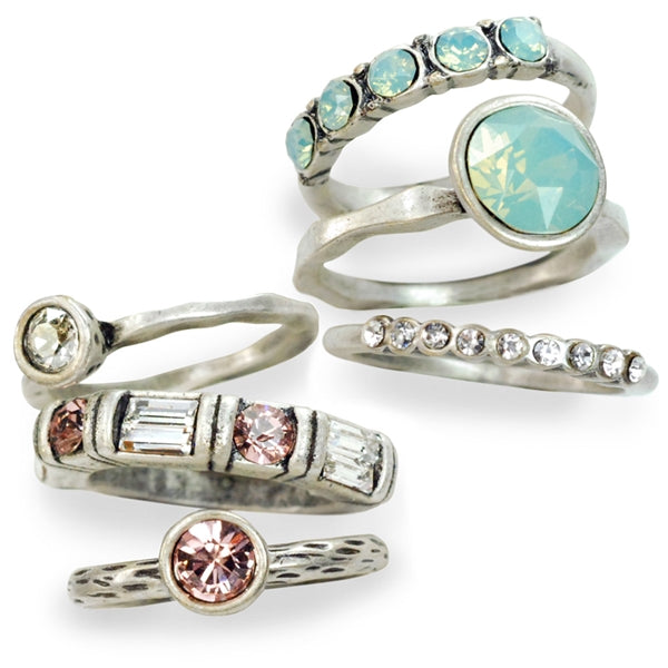 Set of 6 Stacking Rings R1120 - Sweet Romance Wholesale