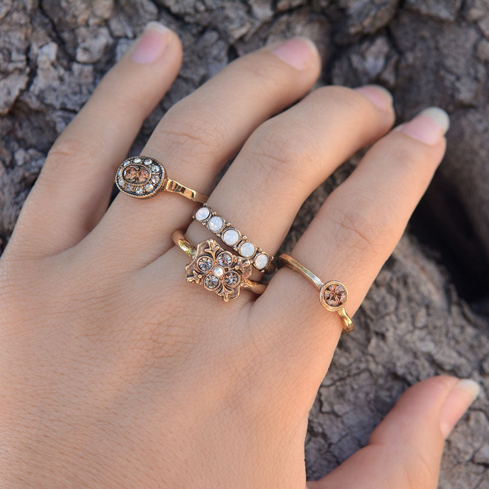 Silver and Gold Crystal Stack Rings Set of 4 R1121 - Sweet Romance Wholesale