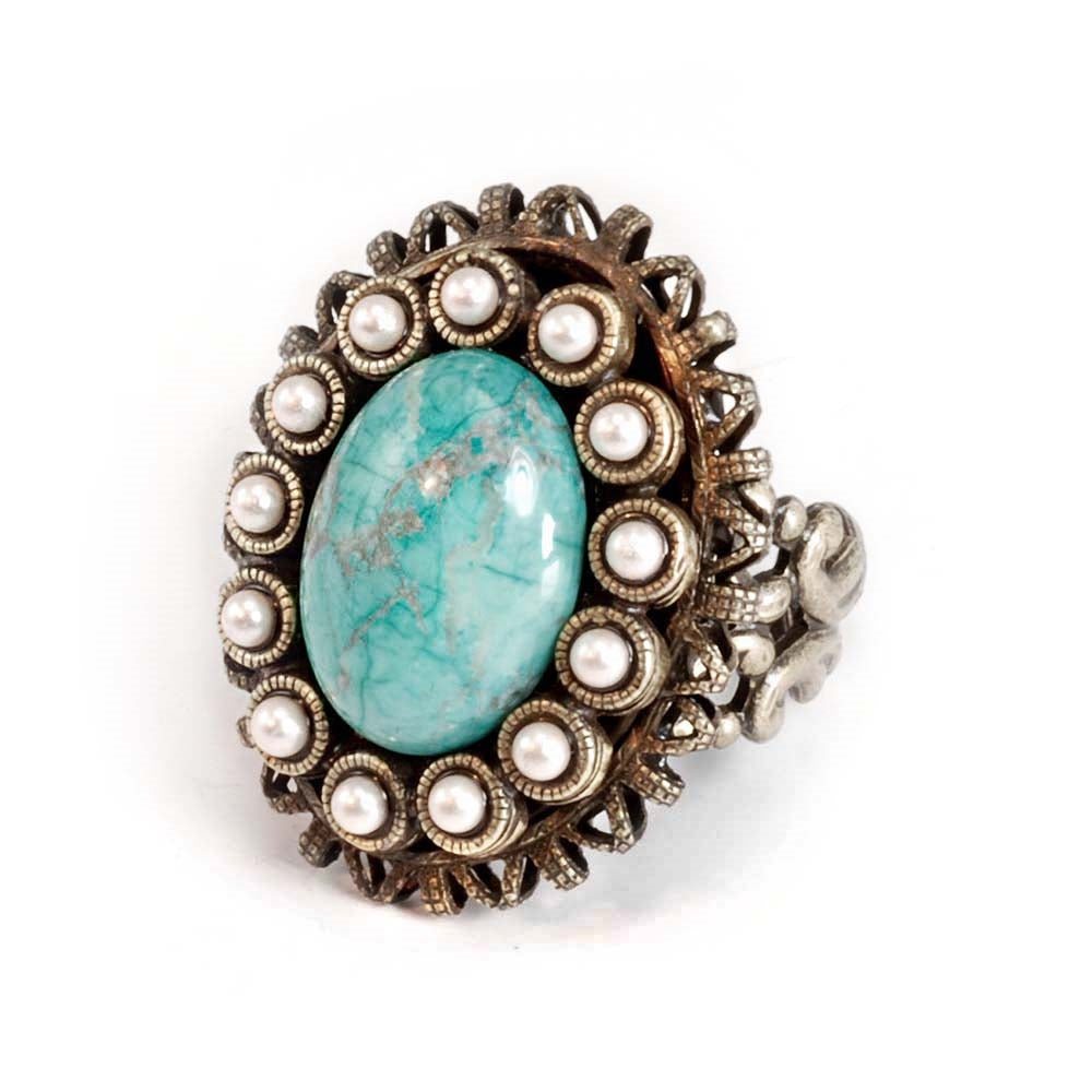 Turquoise & Pearl Oval Ring - Sweet Romance Wholesale