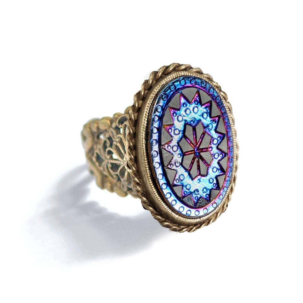 Iridescent Vintage Glass Ring - Sweet Romance Wholesale