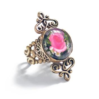 French Jet and Rose Glass Ring - Sweet Romance Wholesale