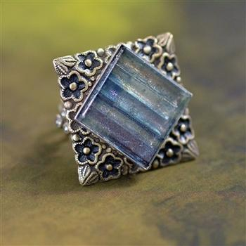 Square Glass Tile Ring - Sweet Romance Wholesale