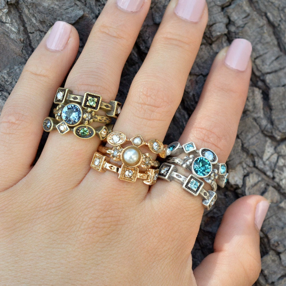 Set of 3 Crystal Stack Rings R562