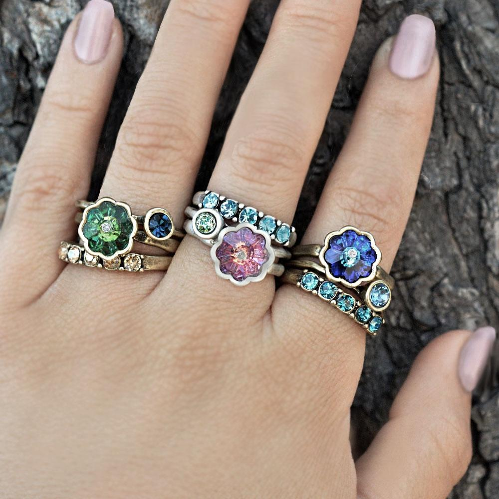 Set of 3 Vintage Flower Crystal Stack Rings R565 - Sweet Romance Wholesale