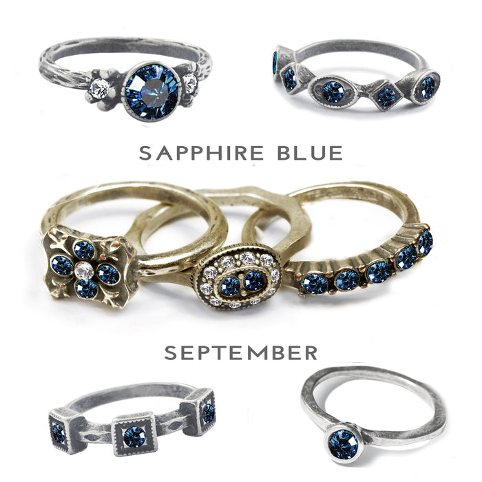 Stackable September Birthstone Ring - Sapphire Blue - Sweet Romance Wholesale