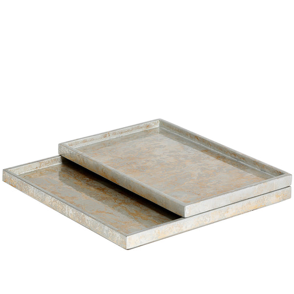 Champagne Silver Leaf Tray Small