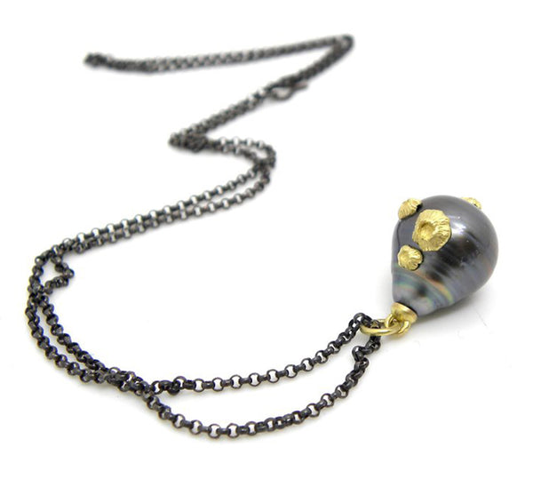 Large Baroque Tahitian Pearl Pendant With 24kt Gold Barnacles