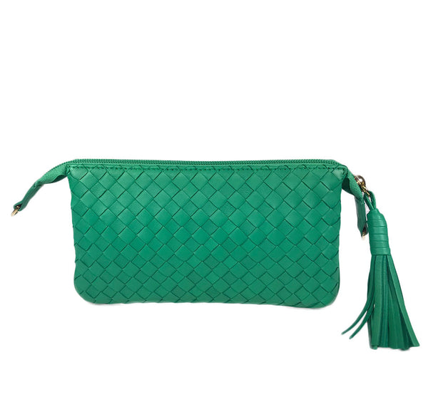Three Part Green Woven Leather Purse