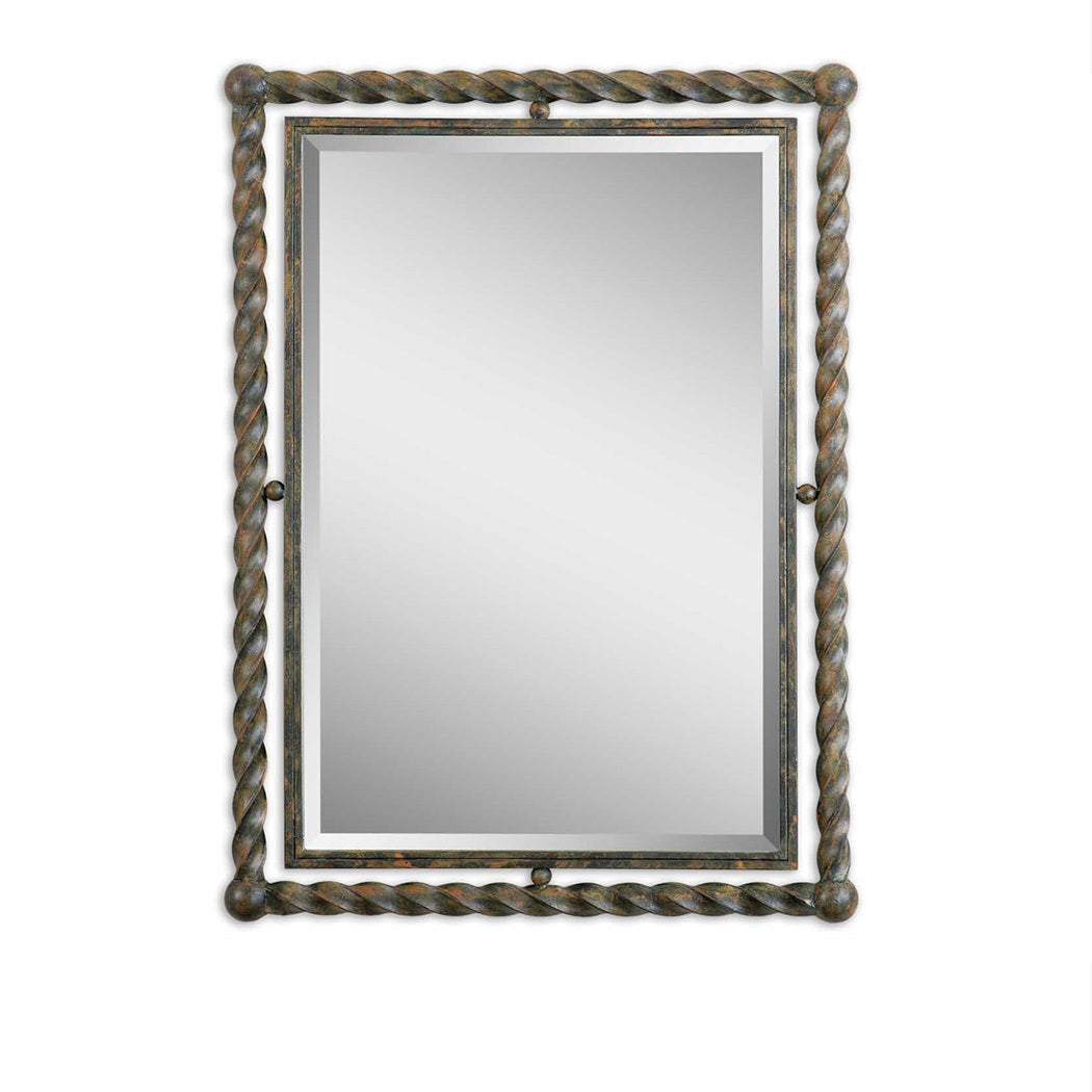 Twisted Iron Double Framed Mirror 26x35