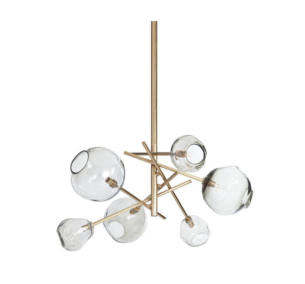 Molten Chandelier in Brass - Smoke Glass