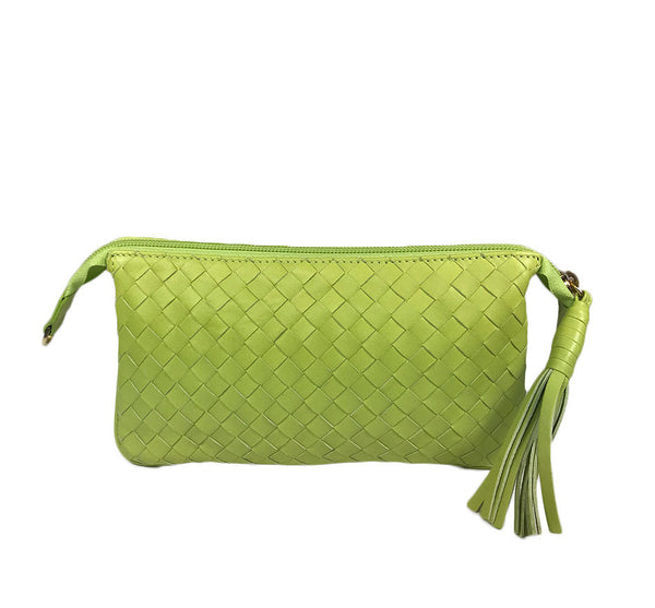 Three Part Lime Woven Leather Purse
