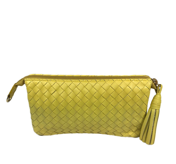 Three Part Yellow Woven Leather Purse