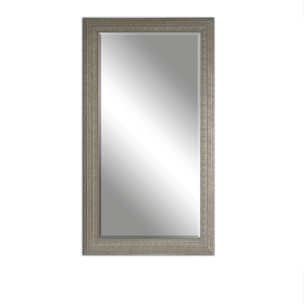 Pressed Pattern Silver Framed Mirror 39x69
