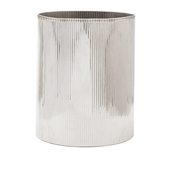 Redon Round Wastebasket in Shiny Nickel