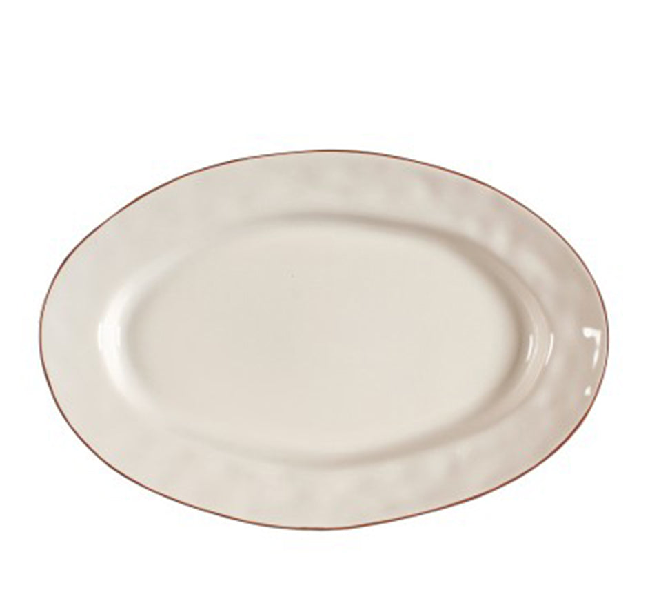 Cantaria Small Oval Serving Platter In Ivory