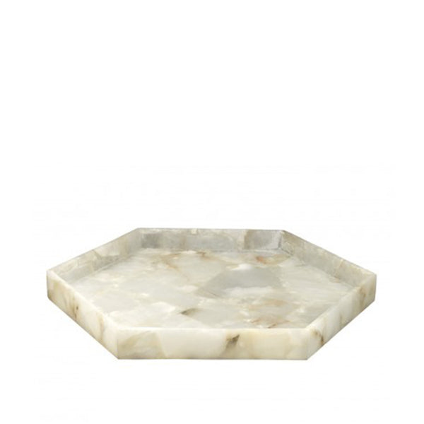 Antonia Hexagonal Tray Large in Alabaster